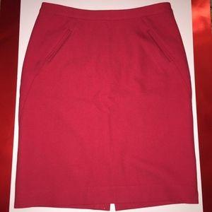 Loft Red Pencil Skirt Size 0 Petites